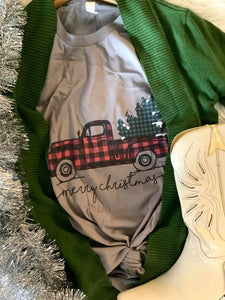 The Wilmington Buffalo Plaid Christmas Pickup Truck Graphic Tee