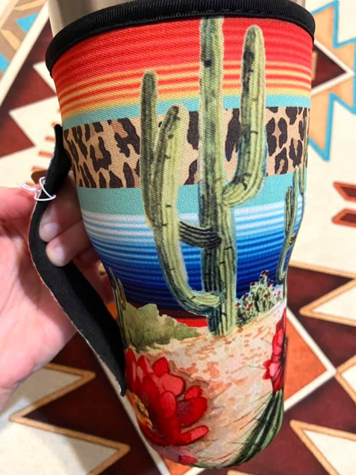 Cactus + Serape Print Cup Sleeve / Holder / fits 30oz cup