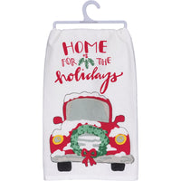 Dish Towel - Red Christmas Pickup Truck