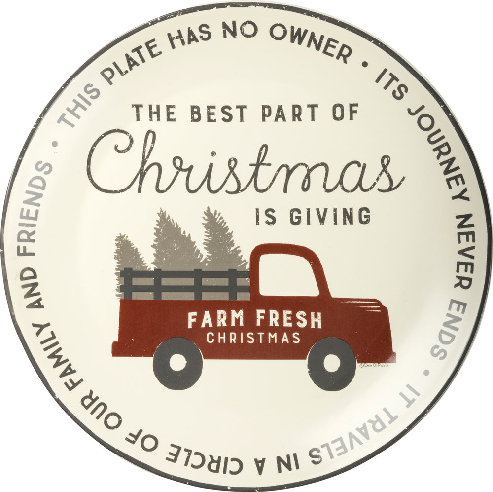Giving Plate- Christmas Pickup Truck
