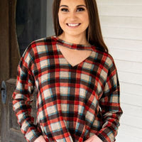 The Wild Canyon Plaid Sweater With Knot