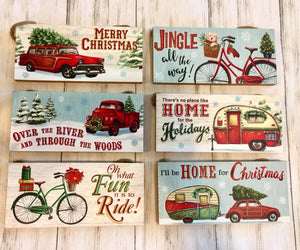 The Christmas Printed Hanging Sign - Red Truck / Bicycle / Camper
