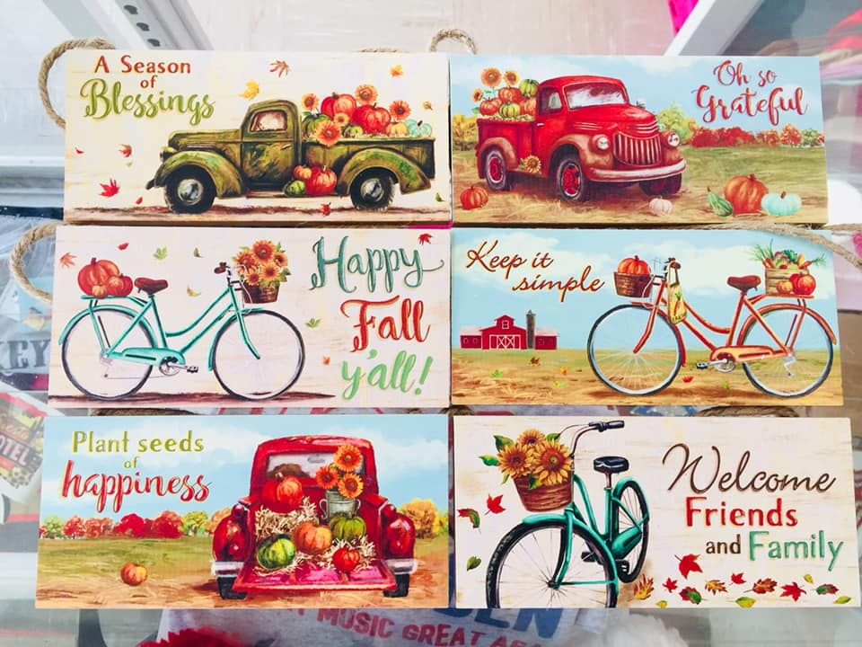 The Fall Printed Hanging Sign - Pickup Truck / Bicycle