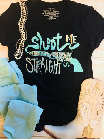 Shoot Me Straight Turquoise Graphic Tee - Crazy Train