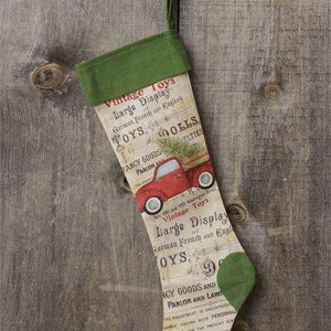 Vintage Red Pickup Truck Stocking - Christmas Decoration