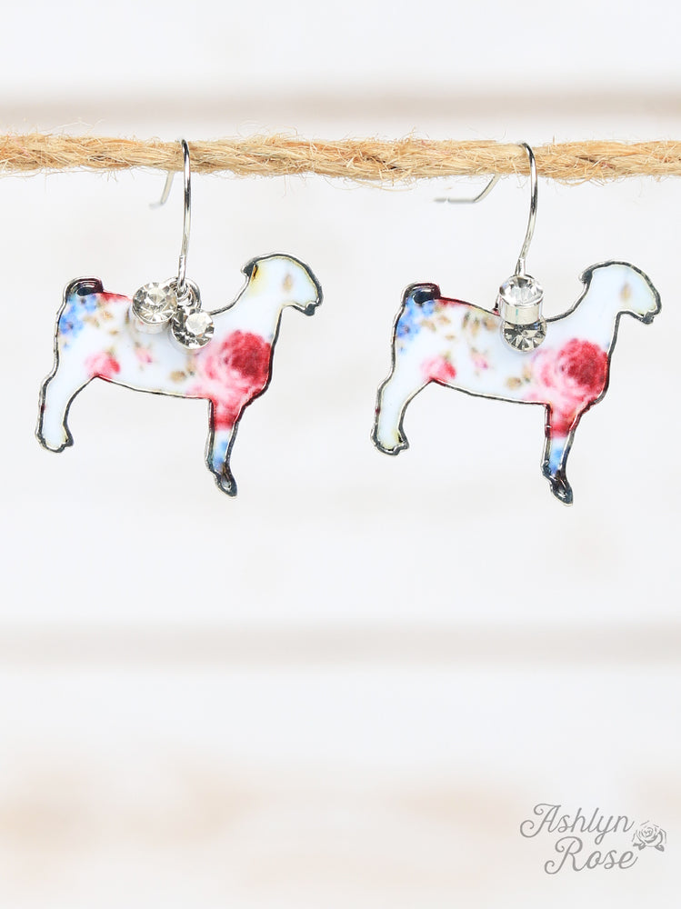 Floral Detail Goat Earrings, Silver