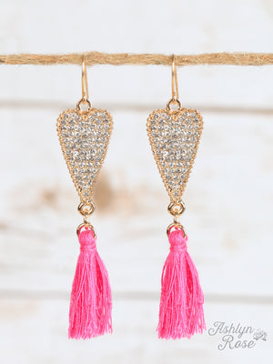 The Cupid Hot Pink Heart Earrings With Tassels