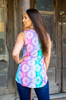 The Alexandria Aztec High Low Tank Top