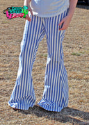 The Ringmaster Blue & White Striped Bell Bottoms