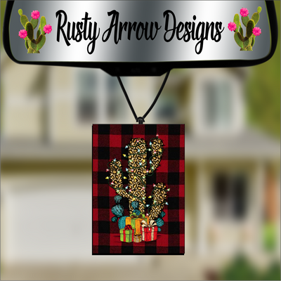 Buffalo Plaid with Vintage Cheetah Cactus W/Presents Scented Air Freshener