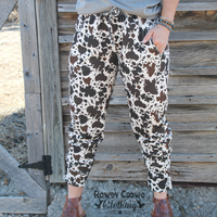 Checkin' Cattle Joggers Cow Print Pants