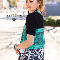 Don't Be Tooled (Tooled Leather Print) Turquoise + Cowhide Top