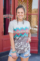 The Cattledrive Aztec + Cow Print Graphic Top (Crazy Train) Ships 3-6 Days