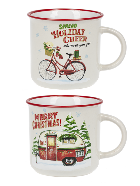 The Christmas Camper & Bicycle Coffee Mugs