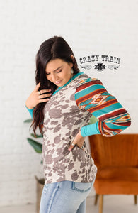 The Calamity Jane Cow + Aztec Print Long Sleeve Top (S-3XL)