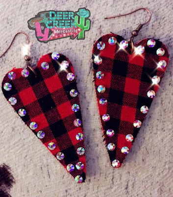 The Valentine Buffalo Plaid Heart Earrings