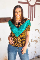 The Cleora Leopard + Turquoise Sparkle Dolman Top