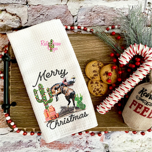 The Cowboy Merry Christmas Dish Towel