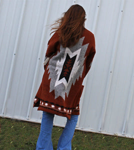 Old Flames Aztec Sweater Cardigan (Duster)