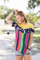 The Ranch Rodeo Serape + Cowhide Print Graphic Top (Crazy Train)
