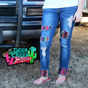 Sanibel Serape Cuffed Denim Jeans