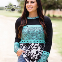 The Titanic Turquoise Tooled Leather + Cow Print Top (S-3XL)