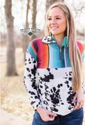 (Ready to ship) The Durango Cowhide + Serape Print Pullover by Crazy Train