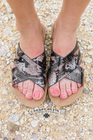 The Danville Snake Print Slide Sandals