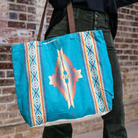 Turquoise Aztec Canvas Tote Bag