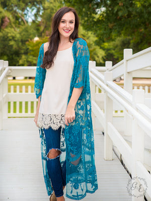 Wrapped Around Your Finger, Teal Lace Kimono