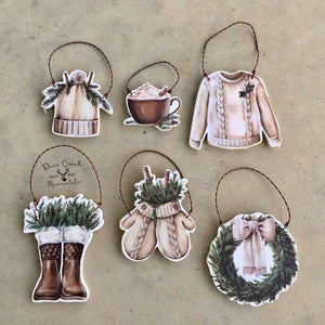 Winter Themed Christmas Ornament- Lodge Theme - Snow - Mitten - Hot Cocoa -Boots - Hat
