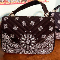The Rosalie Quilted Bandana Crossbody Purse (Black)