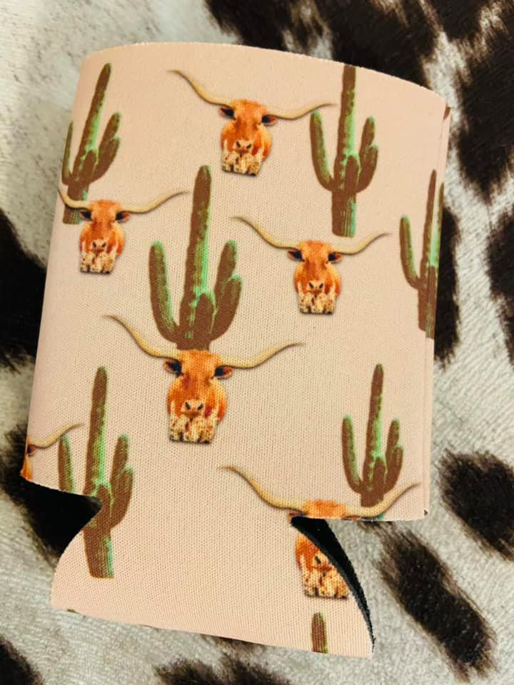 Blush Longhorn + Cactus Regular Size Can Cooler