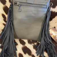 Turquoise Concho Crossbody + Fringe Purse (Gray)