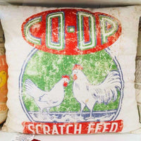 Scratch Feed Pillow - Coop - Farmhouse Decor - Feedsack Pillow