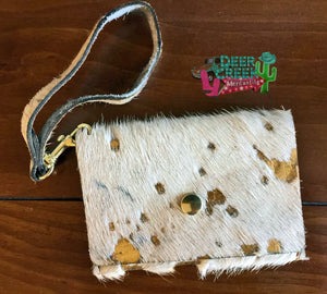 The Golden Nugget Handmade Acid Cowhide Wristlet