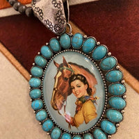 Western Cowgirl Bubble Glass Pendant Necklace