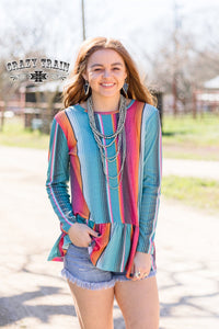 The Cowboy's Sweetheart Ruffle + Serape Top
