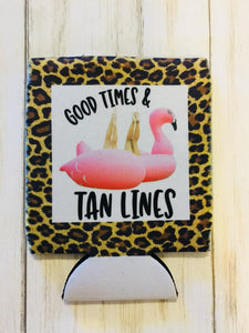 Good Times & Tan Lines Flamingo Float Drink Can Cooler (Drink Hugger)