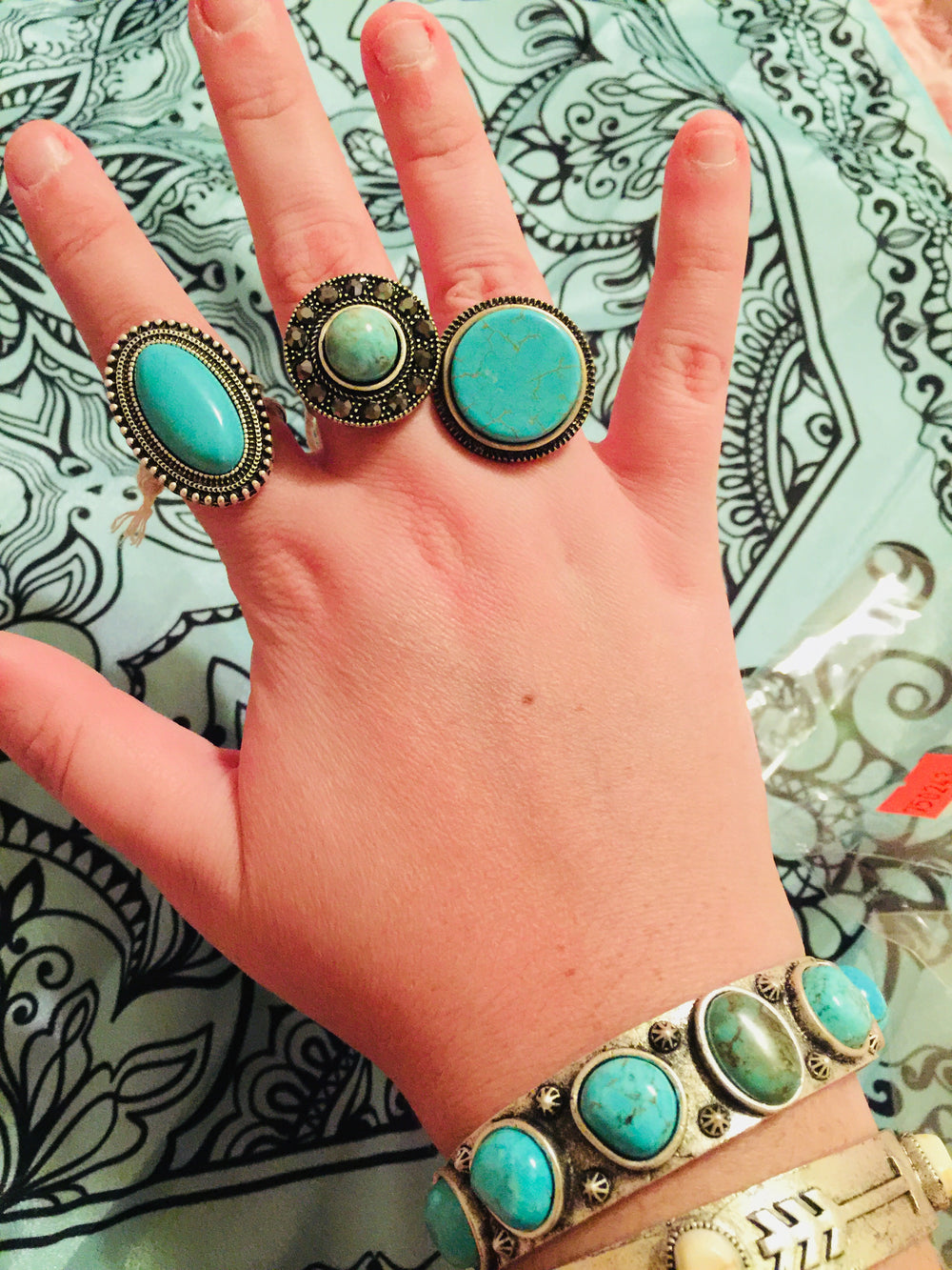 The Honeycomb Turquoise Western Rings