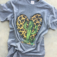 The Maysville Leopard Heart + Cactus Graphic Tee