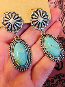 Loretta's Round Turquoise Earrings