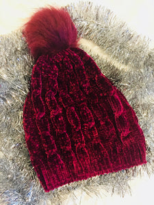 The Missoula Chenille Stocking Cap Beanie (Burgundy)