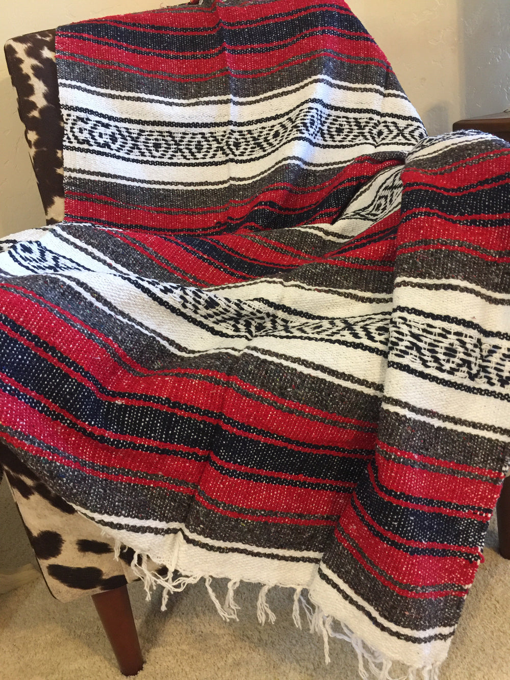 Serape Blanket (Red/Gray/White)