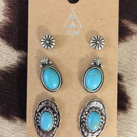 Turquoise Western Earrings Concho Style Set (Set #5)