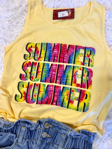 The Sunnyside Summer Tye Dye Graphic Tank Top