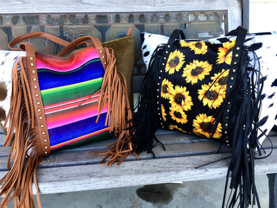 Cowhide Print Fringe Purse [Sunflower or Serape]