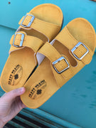 The Mangum Mustard Wedge Sandals