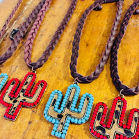 The Texhoma Red or Turquoise Cactus Choker Necklace