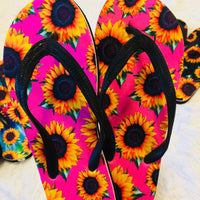 The Grant Sunflower Flip Flops (Hot Pink)
